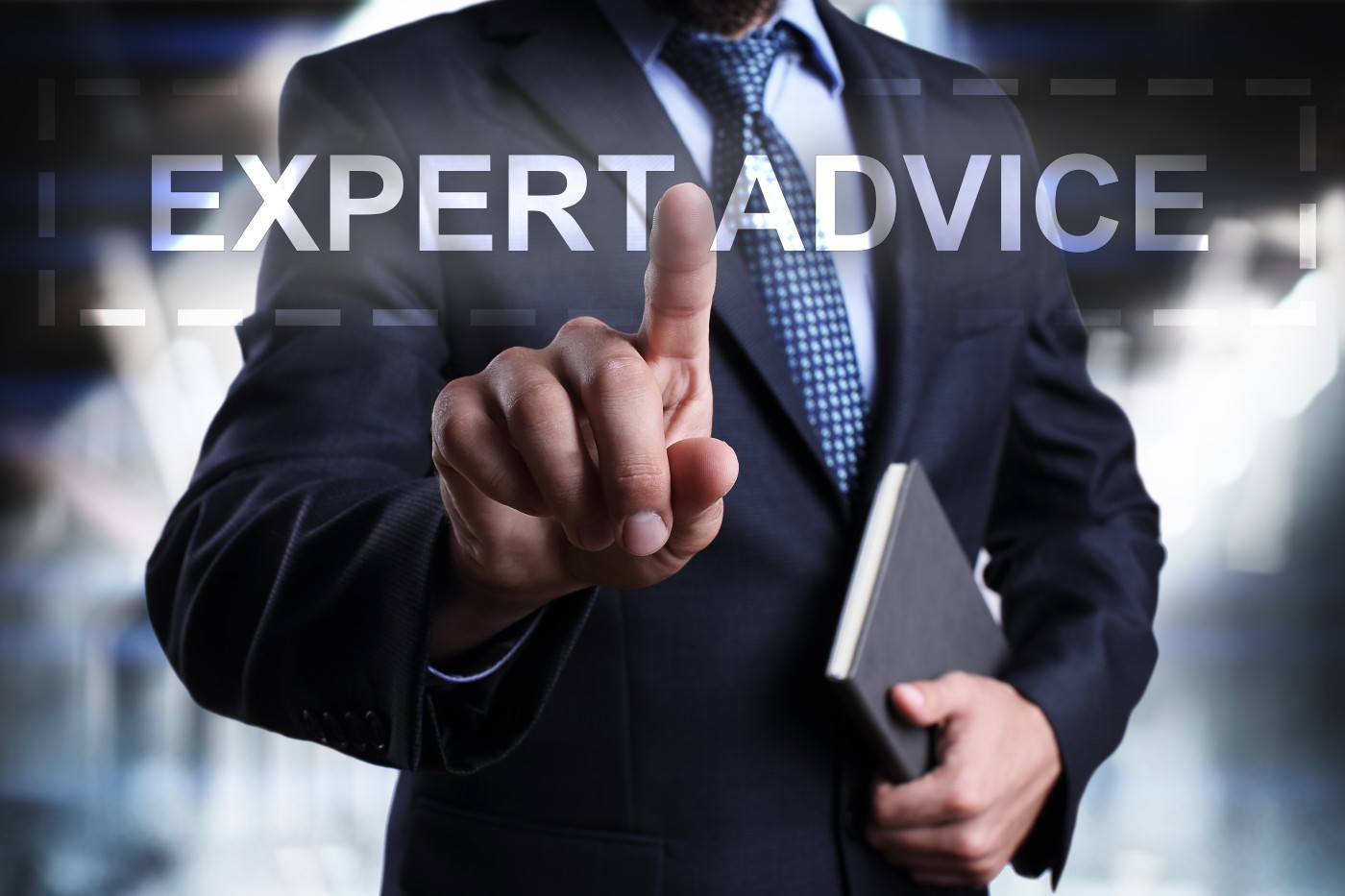 Businessman is pressing on the virtual screen and selecting Expert advice.