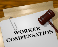 "3D illustration of ""WORKER COMPENSATION"" title on legal document"