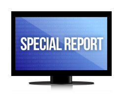special report monitor illustration design over a white background