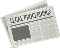 legal proceedings newspaper sign concept illustration design