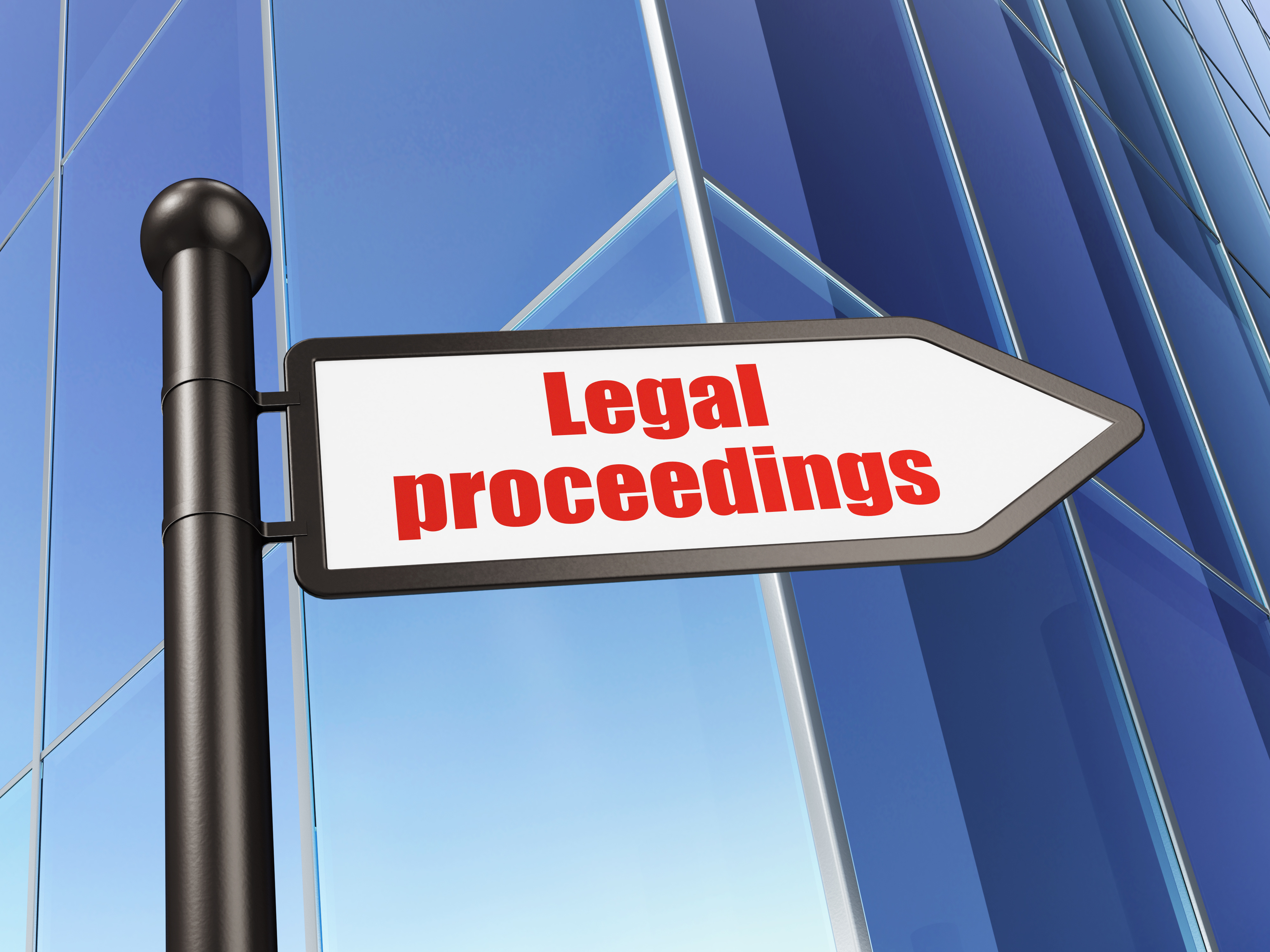 Law concept: sign Legal Proceedings on Building background, 3D rendering